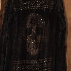 Sweaters - Rhinestone skull Fringe cardigan sweater large